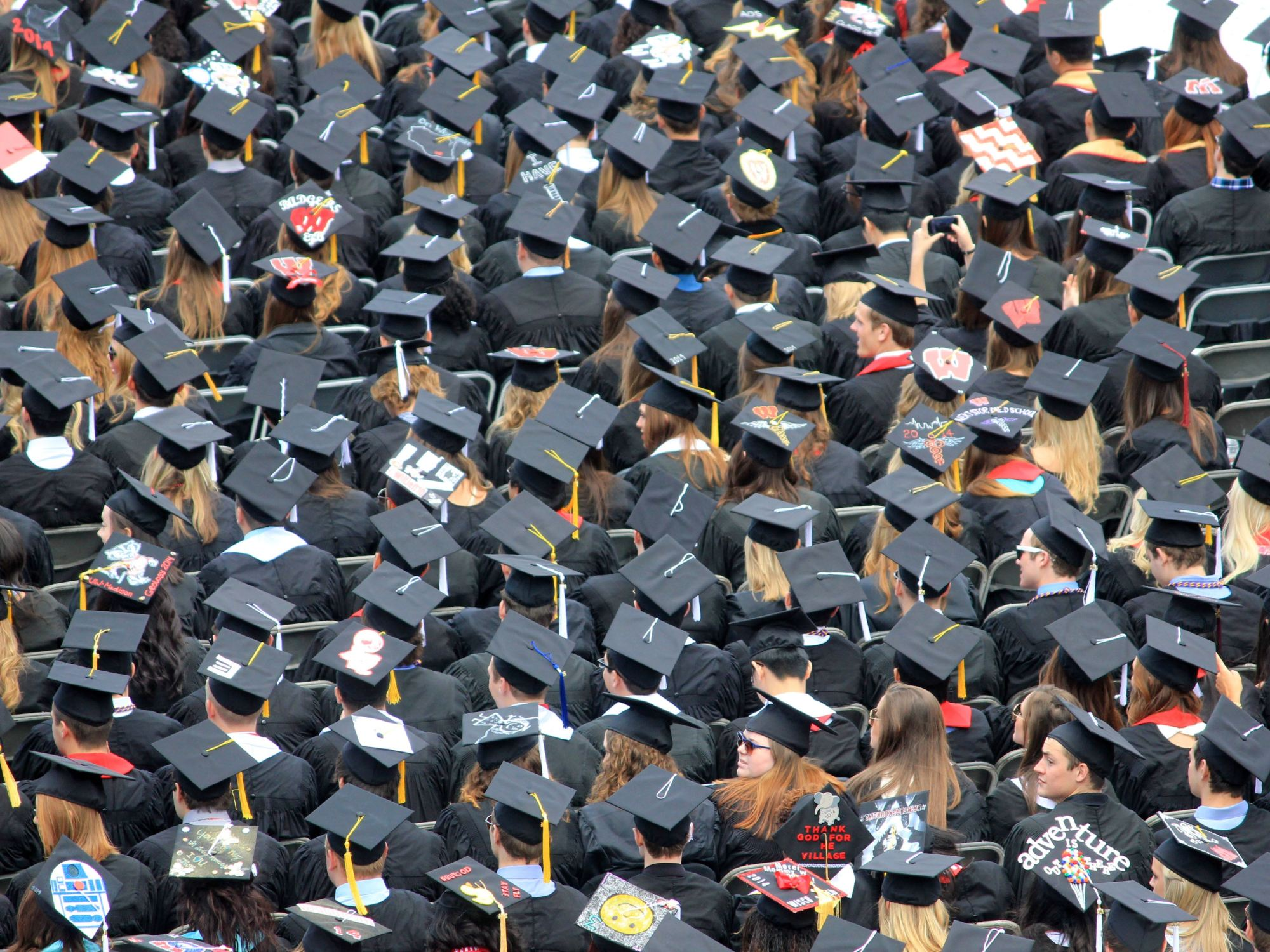 aerial view of graduates wearing graduation hats